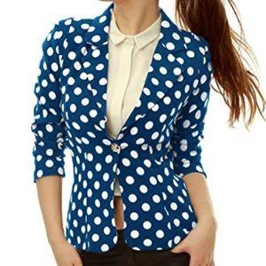 Allegra K Blue Polka Dot Notched Collar Blazer